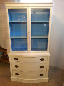 Shabby Chic White/Blue Wood Display Cabinet