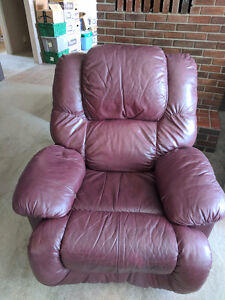 Burgundy Leather Reclining Chair - Quick Sale