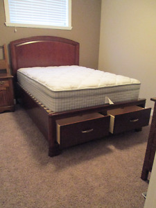Solid Double Wood Bed, Dresser Mirror and Storage