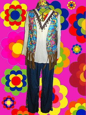 198✪ Hippie Blumenkinder Kostüm 60er 70er Jahre Festival Flower Power Gr. 40 42 - Blume Festival Kostüm