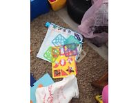 Toddler painting sheet with stencils