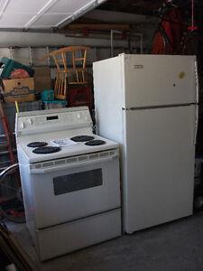 Almond KItchenaid stove and Viking Refrigerator 30 inches