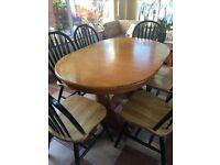 Laura Ashley country style shabby chic extending solid table + 6 chairs