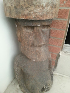 Stained Concrete Tiki Head Statue/Sculpture