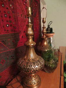 Pair of Heavy Vintage Morroccan Style Lamps