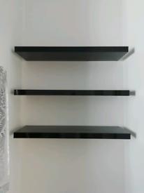 Habitat 3 black gloss floating wall shelves - 80cm x 25cm