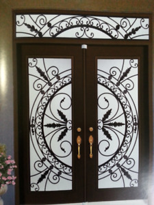 Stained GLASS INSERTS Wrought IRON INSERTS Door Glass inserts