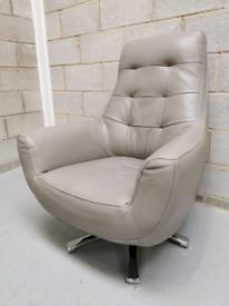 Washington Retro Button Back Silver Grey Leather Swivel Chair