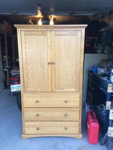 Solid Oak TV Armoire