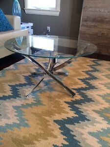 Glass & Chrome Round Coffee Table
