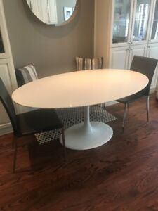 White Oval Tulip Table