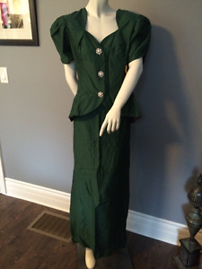 Emerald Green Formal Dress 2 pieces Mother of the Bride XL (#1)
