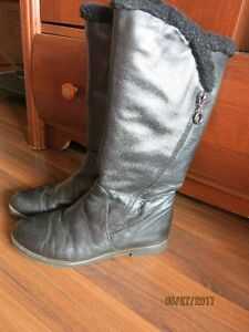 Women winter boots. Genuine leather and mouton fur