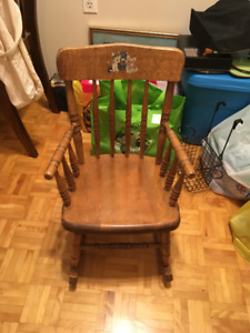 1950s vintage (dominos) oak childs rocker