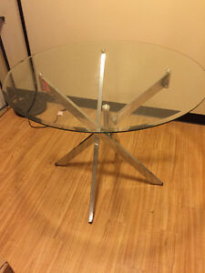 Modern Glass Dining Table and 4 Chairs