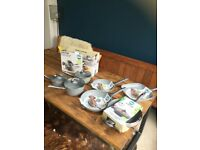 Salter Brand new 7 piece frying pan / saucepan/ wok set Rrp £100 marble effect non stick