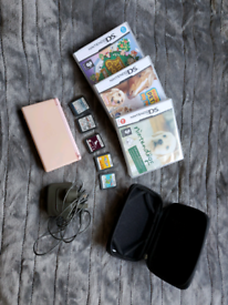 BUNDLE: pink nintendo DS lite, game cards and carry case