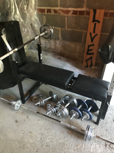 Articulating Weight Lifting Bench & Chrome Free Weights