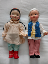 Pair of Vintage Porcelain Dolls in mint condition! Viewing in garden!!