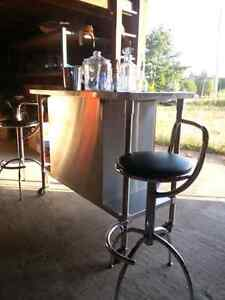 Portable Bar Beverage Cart Stainless with two stools