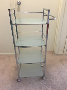 Tinted Glass and Metal Utility Cart