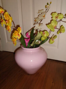 "Pink vase with flowers  20$  Measures 10"" in height."