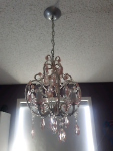 Chandelier - pink and silver