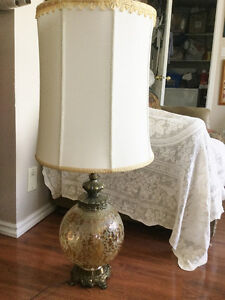 Reduced-Two RETRO Amber Crackle Glass Table and Swag Light