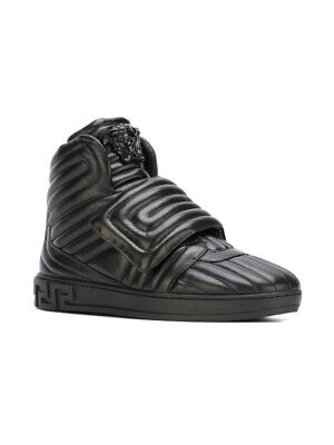 Authentic Versace Palazzo Medusa Quilted Leather Strap Hi-top Size 8 Sneakers
