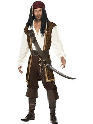 Men's High Seas Pirate Buccaneer Fancy Dress Costume Jack Sparrow Stag Theme Fun