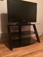 T.V stand - Stained glass with cherry wood.  3 shelves.