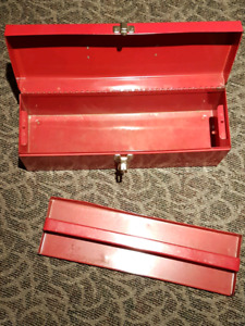 Classic red metal toolbox