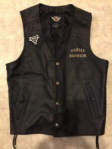 Harley leather vest large