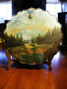 Vintage Small Round Glass Painting