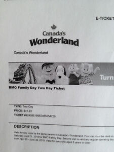 Canada's Wonder Land Two Day Ticket