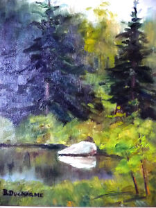 """Original Oil Painting by Blanche Ducharme """"Peaceful Pond"""" 1960's Stratford Kitchener Area image 2"""