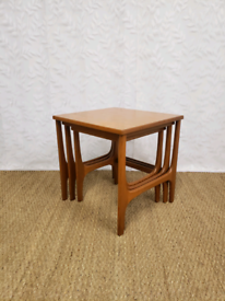 Vintage mid century teak nest of tables coffee table side occasional