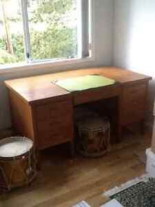 Antique oak desk and 2 antique brass military drums