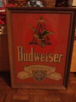 Vintage 1980 Budweiser Picture/Mirror in Frame