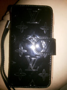 Louis Vuitton  Leather Iphone  Cell Phone Wallet Case Holder