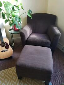 2 x IKEA Armchairs & footstool