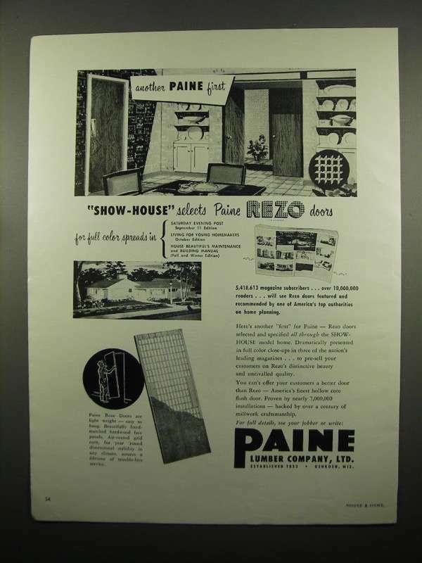 1954 Paine Lumber Company Rezo Doors Ad