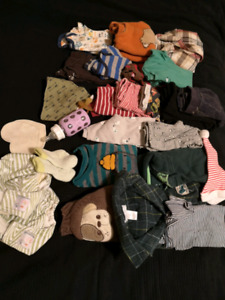 Boys clothes, cloth diapers, glass bottle and more
