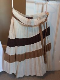 Women's Pleated Beige/Brown Designers Remix Collection Midi Skirt, Size 10