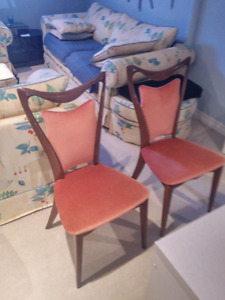 2 velvet covered antique chairs