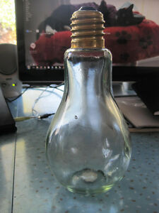 Vintage Hand Made in Spain Large Light Bulb Shaped Glass Bottle