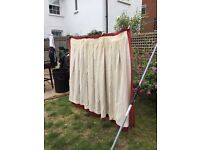 Red silk kind pair curtains