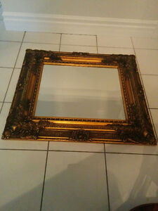 Set of 2 Gold rustic antique mirrors solid wood.