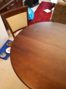 Solid wood round dining room table and chairs for sale