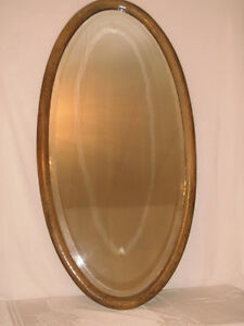 Large Old Solid Wood Oval Wall Mirror